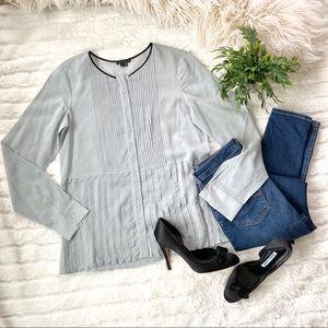 Theory Zirana Silk Tuxedo Dress Shirt